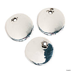 Silvertone Hammered Disc Beads - 10mm