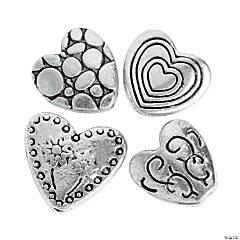 Silvertone Heart Beads - 10mm