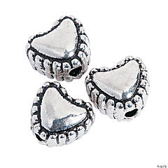 Silvertone Heart Spacer Beads - 6mm