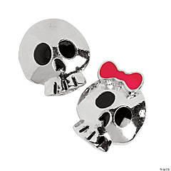 Silvertone Jack & Jill Skull Head Large Hole Beads