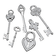 Silvertone Large Key Charms