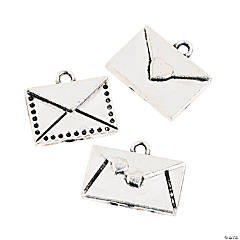 Silvertone Love Letter Charms