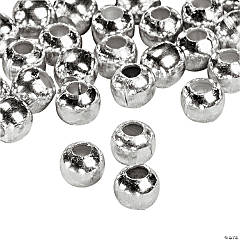 Silvertone Metal Round Beads - 4mm