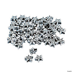 Silvertone Metal Star Beads - 6mm with a 3mm hole
