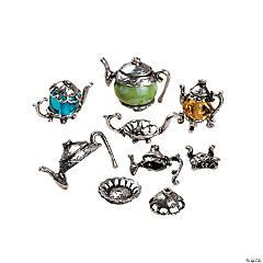 Silvertone Metal Teapot Bead Caps