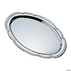 Silvertone Oval Serving Tray