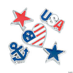 Silvertone Patriotic Floating Charms