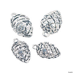 Silvertone Pinecone Charms - 12mm, 17mm