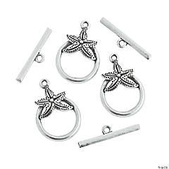 Silvertone Starfish Toggle Clasps