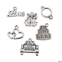 Silvertone Wedding Charms