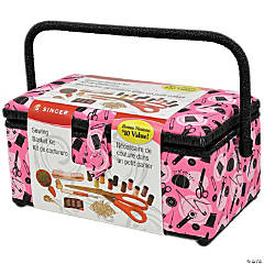 Singer Sewing Basket- Pink Notions