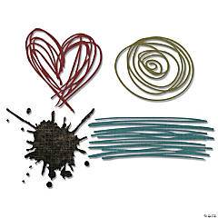 Sizzix Thinlits Dies By Tim Holtz 4/Pkg-Scribbles & Splat