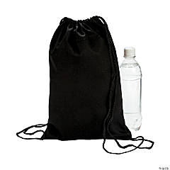 Small Black Canvas Drawstring Bags