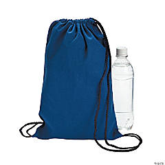 Small Blue Canvas Drawstring Bags