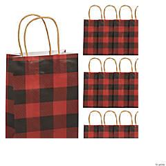 Small Buffalo Plaid Kraft Paper Gift Bags