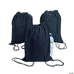Small Denim Drawstring Backpacks