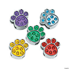 Small Enamel Paw Print Slide Charms