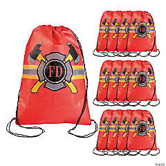 Small Firefighter Party Drawstring Bags