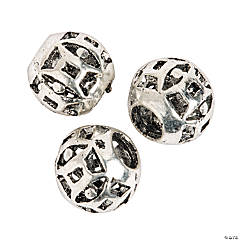 Small Geometric Large Hole Beads - 8mm