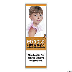 Small Gold Awareness Ribbon Custom Photo Vertical Banner