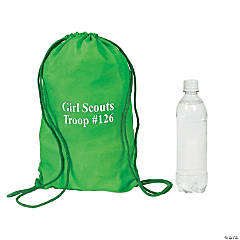 Small Green Personalized Drawstring Backpacks