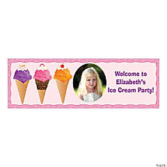 Small Ice Cream Party Custom Photo Banner