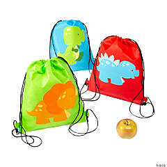Small Little Dino Drawstring Bags
