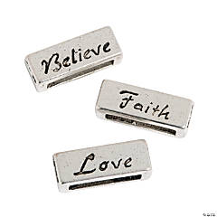 "Small ""Love Believe Faith"" Slide Charms"
