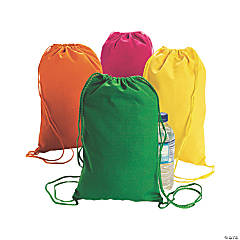 Small Neon Canvas Drawstring Bags