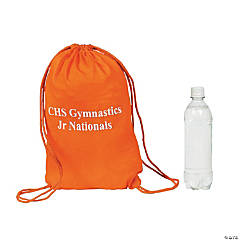 Small Orange Personalized Drawstring Backpacks