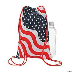 Small Patriotic Canvas Drawstring Bags