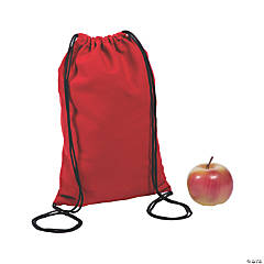 Small Red Canvas Drawstring Backpacks