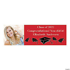 Small Red Graduation Custom Photo Banner