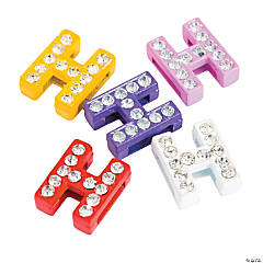 Small Rhinestone Letter Slide Charms - H