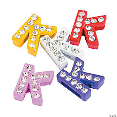 Small Rhinestone Letter Slide Charms - K