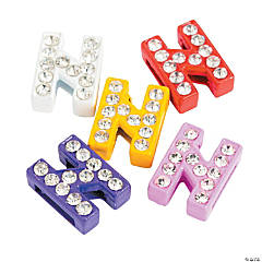 Small Rhinestone Letter Slide Charms - N