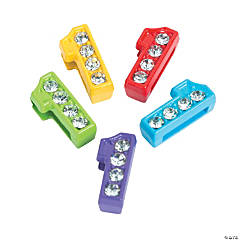 Small Rhinestone Number Slide Charms - 1