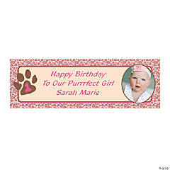 Small 1st Birthday Cheetah Custom Photo Banner