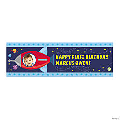 Small 1st Birthday Rocket Party Custom Photo Banner