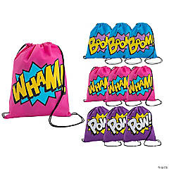 Small Superhero Girl Drawstring Bags