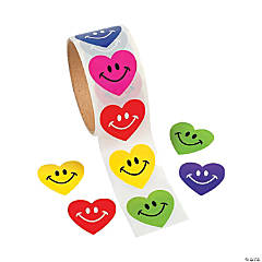 Smile Face Heart Roll of Stickers