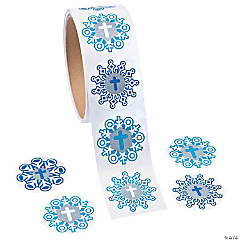 Snowflake Glitter Cross Stickers