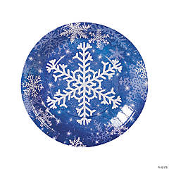 Snowflake Paper Dinner Plates  sc 1 st  Oriental Trading & Save on Snowflake Christmas Party Tableware | Oriental Trading