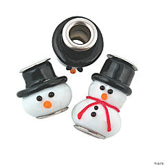 Snowman Lampwork Large Hole Beads - 20mm