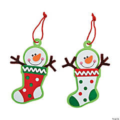 Snowman Stocking Christmas Ornament Craft Kit - 12