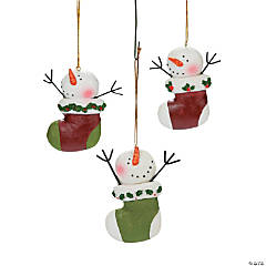 Snowman Stocking Christmas Ornaments