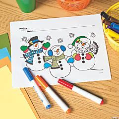snowman trio free printable coloring page
