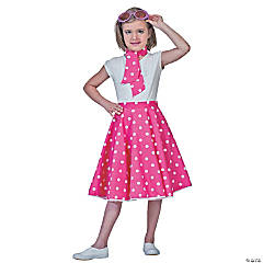 Sock Hop Skirt Pink & White Girl's Costume