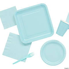 Solid Color Light Blue Tableware