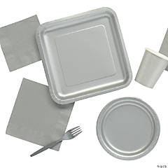 Solid Color Metallic Silver Tableware